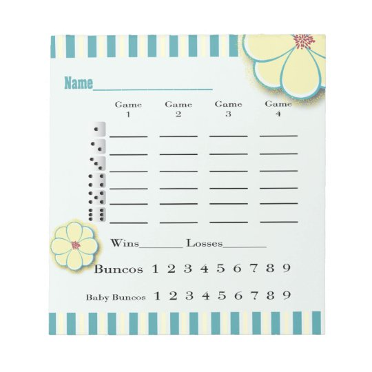 Spring Flower Bunco Score Sheet Pad  ZazzleCom