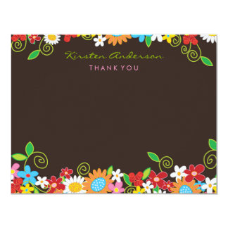 Spring Flower Garden Bridal Shower Thank You 4.25x5.5 Paper Invitation Card