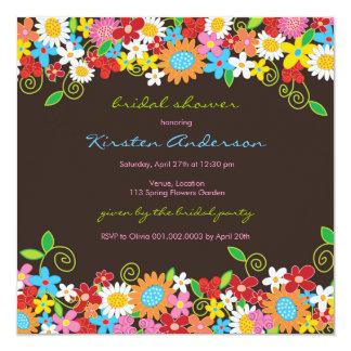 "Spring Flower Garden Daisies Bridal Shower Invite 5.25"" Square Invitation Card"