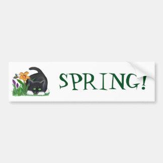 Spring Flower Garden Entices a Bee and Kitten Bumper Sticker