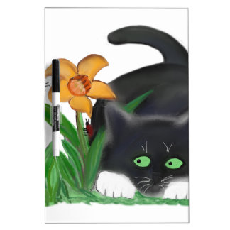 Spring Flower Garden Entices a Bee and Kitten Dry-Erase Board