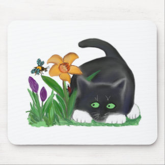 Spring Flower Garden Entices a Bee and Kitten Mouse Pad