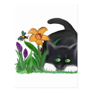 Spring Flower Garden Entices a Bee and Kitten Postcard