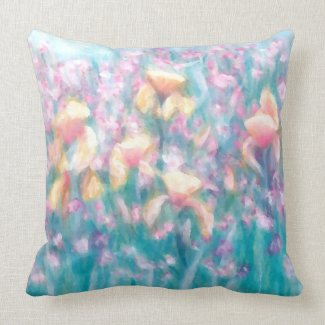 Spring Flower Garden Iris Soft Pastel Pillow