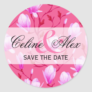 Spring Flower Garden Save the Date | fuchsia Classic Round Sticker