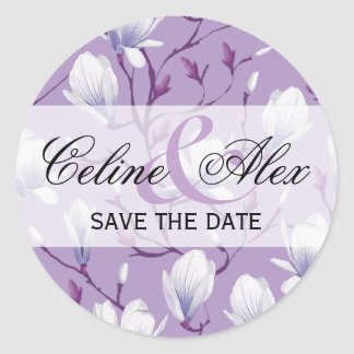 Spring Flower Garden Save the Date | grape lilac Classic Round Sticker