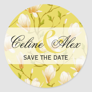Spring Flower Garden Save the Date   yellow Classic Round Sticker
