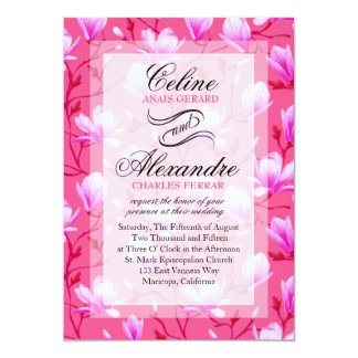 Spring Flower Garden Wedding | fuchsia Card