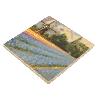 Spring Flower Mill Painting Triptych image 2 of 3 Wooden Coaster