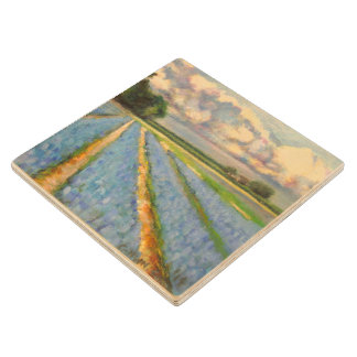 Spring Flower Mill Painting Triptych image 3 of 3 Wood Coaster