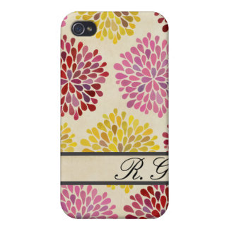 Spring Flower Pattern Designer Monogram Case