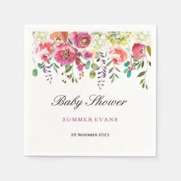 Toddler & Baby themed Spring Flower Pink Peach Tropical Baby Shower Paper Napkin