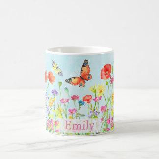 spring flower wildflowers butterflies customizable coffee mug