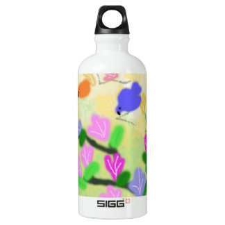 spring flowering branch and colorful  birds water bottle
