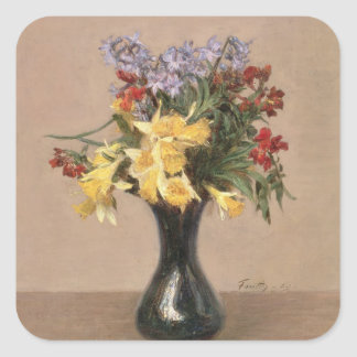 Spring Flowers, 1869 (oil on canvas) Square Sticker