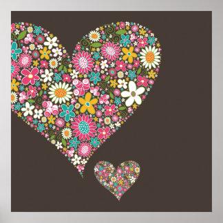 Spring Flowers 2 Big & Little Heart Custom Print