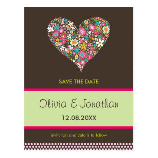 Spring Flowers 2 Heart *01 Save The Date Postcard