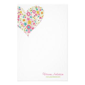 Spring Flowers 2 Heart Bridal Shower Stationery