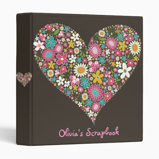 "Spring Flowers 2 Heart Love Custom 1"" Avery Binder"