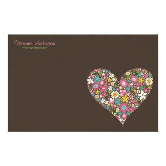 Spring Flowers 2 Heart Love Cute Custom Stationery