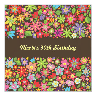 Spring Flowers 30th Birthday Party Invitation