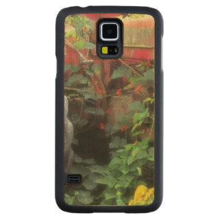 Spring flowers adorn an old tractor. carved maple galaxy s5 slim case