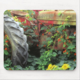 Spring flowers adorn an old tractor. mouse pad