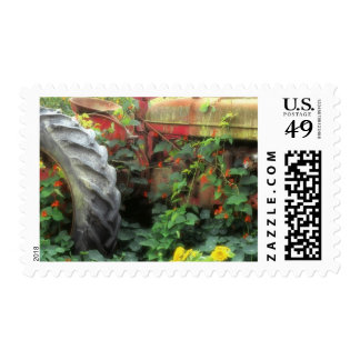 Spring flowers adorn an old tractor. postage stamp