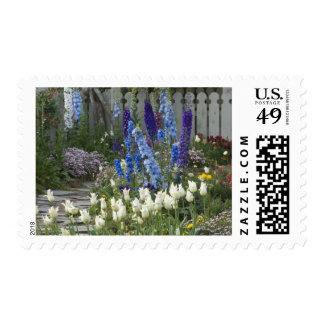 Spring flowers along a garden path, Georgia Stamp