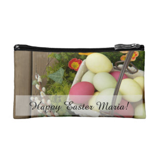 Spring Flowers and Basket of Easter Eggs Cosmetic Bag