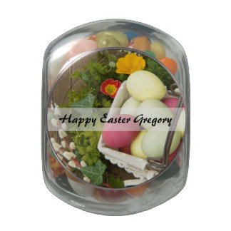 Spring Flowers and Basket of Easter Eggs Glass Candy Jar