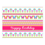 Spring flowers and butterflies Birthday Postcard