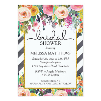 Spring Flowers and Chalkboard Stripes Shower Card