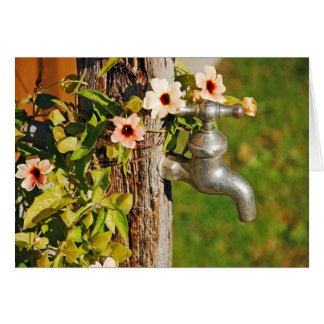 Spring flowers and faucet greeting card