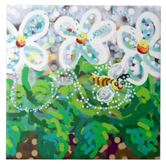 spring flowers and happy bee large square tile
