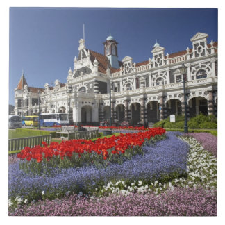 Spring Flowers and Historic Railway Station, Ceramic Tile