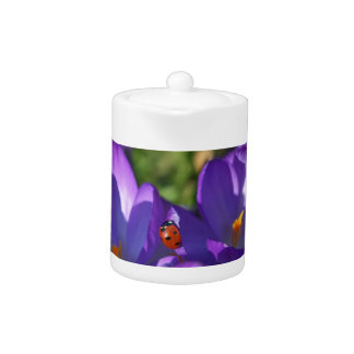 Spring flowers and ladybug teapot