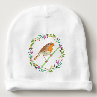 Spring flowers and robin bird baby beanie