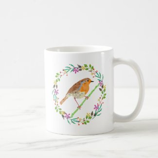 Spring flowers and robin bird coffee mug