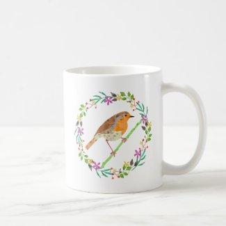 Spring flowers and robin bird coffee mug