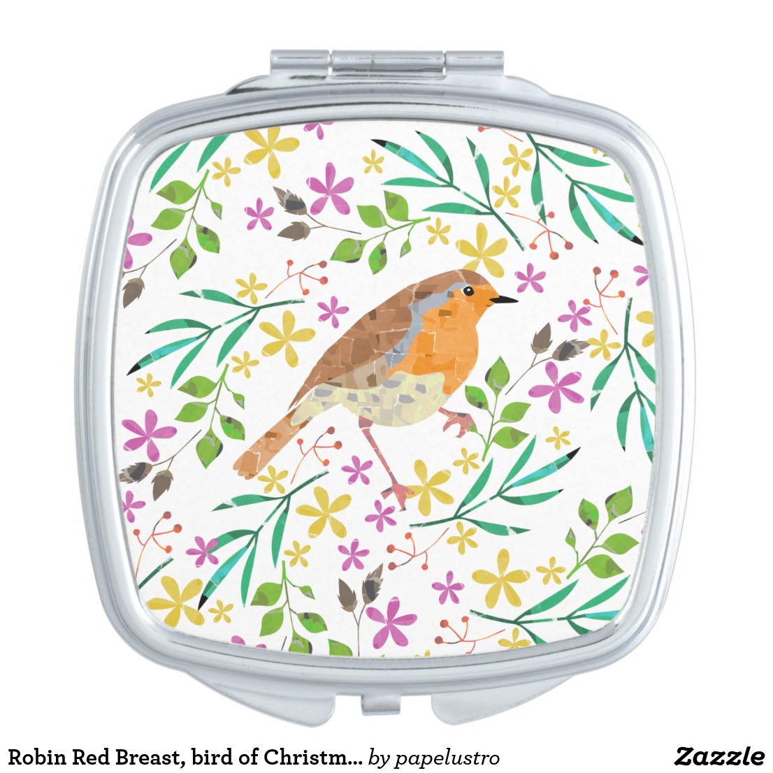 Spring flowers and robin bird compact mirror
