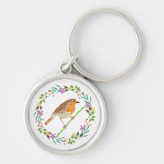 Spring flowers and robin bird keychain