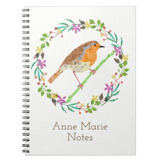 Spring flowers and robin bird notebook