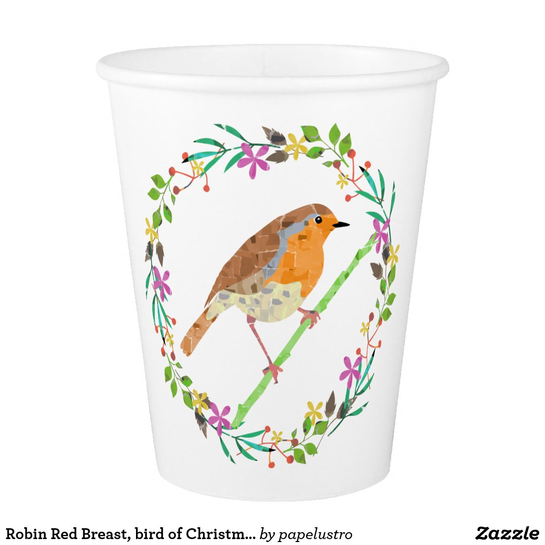 Spring flowers and robin bird paper cup