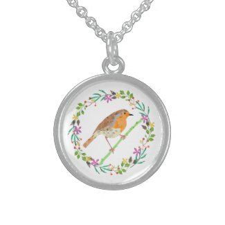 Spring flowers and robin bird sterling silver necklace