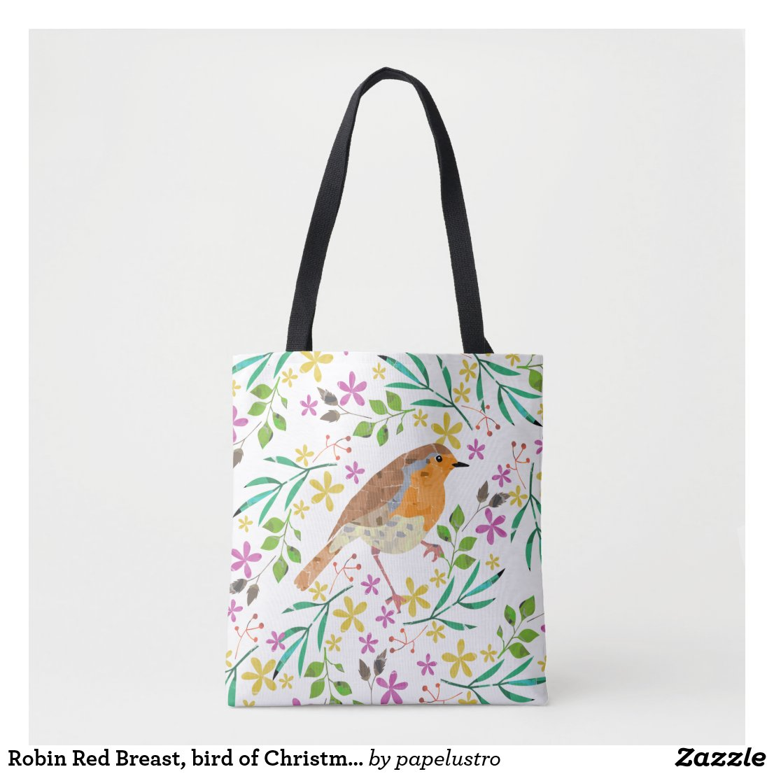 Spring flowers and robin bird tote bag