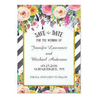 Spring Flowers and stripes Save the Date Card