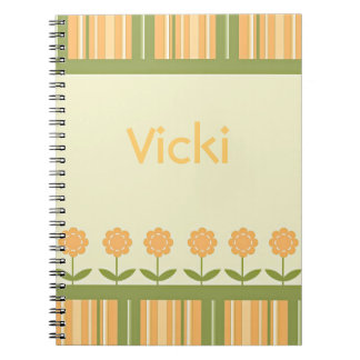 Spring Flowers and Stripes Spiral Notebook
