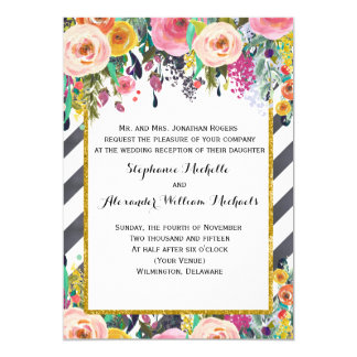 Spring Flowers and Stripes Wedding Reception Only Card