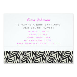 Spring Flowers and Zebra Party Invitations